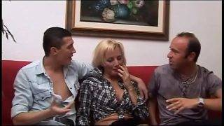 Father and son fuck the blonde woman